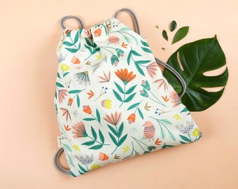 Drawstring Bag | Backpack | Fabric Bag | Carry bag | Digitally Printed Fabric | Melbourne Made | Floral Toss Print