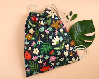 Drawstring Bag | Backpack | Fabric Bag | Carry bag | Digitally Printed Fabric | Melbourne Made | Winter Garden Print