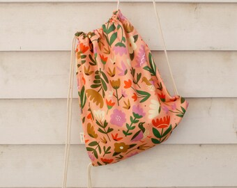 Drawstring Bag | Backpack | Fabric Bag | Carry bag | Digitally Printed Fabric | Melbourne Made | Pink Oasis Print