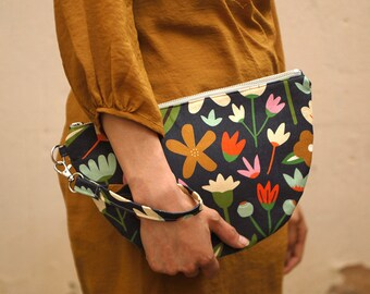 Clutch Purse | Zip Purse | Clutch Bag | Clutch | Wrist Strap | Digitally Printed Fabric | Melbourne Made | Winter Garden Print