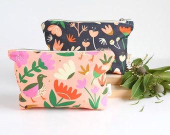 Zip Purse | Zip Pouch | Purse | Make-up Purse | Pencil Case | Zipper Pouch | Travel Pouch | Pink Oasis Print