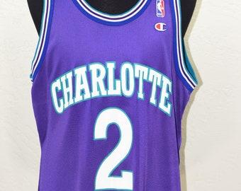 Larry Johnson Charlotte Hornets Champion jersey VINTAGE 90s Mens Size 44  Large 7a63b24ac