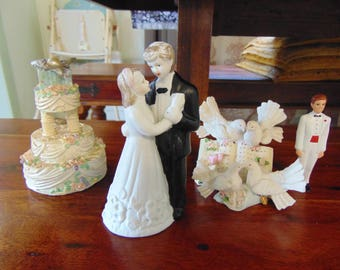 9f8e82506f74 Collection of Vintage Cake Topper Items 1960s 1970s Cake decoration Wedding  Bridal