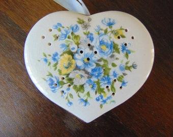 Beautiful Vintage China French Pomander Cornflower Blue 1950s Heart Shape