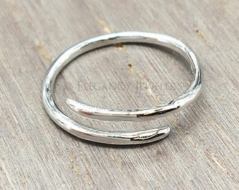 Adjustable .925 Sterling Silver Single Wrap Toe Ring, Love, Ring, Valentines Day, Midi Ring, Jewelry (E029)