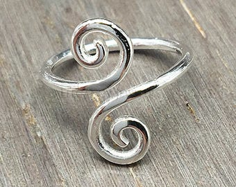 Adjustable .925 Sterling Silver Double Swirl Toe Ring, Love, Ring, Valentines Day, Midi Ring, Jewelry (E028)