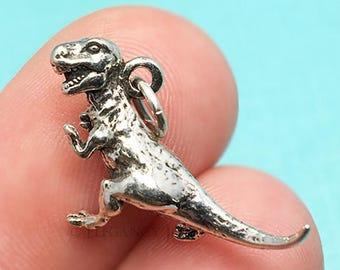 CS2646 10 Tyrannosaurus Dinosaur Charms Silver T-Rex Dinosaur Charm