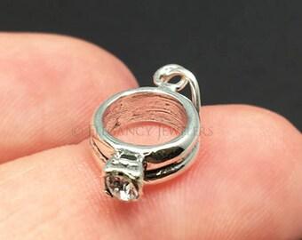 3D Sterling Silver Engagement Ring Charm, Wedding, Bride, .925 Silver, DIY, Bracelet Charms, (C428)