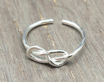 Adjustable .925 Sterling Silver Infinity Knot Toe Ring, Love Knot, Ring, Valentines Day, Midi Ring, Jewelry (E027)