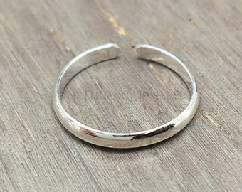 Adjustable .925 Sterling Silver Flat Plain Band Toe Ring, Love, Ring, Valentines Day, Midi Ring, Jewelry (E030)