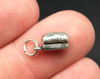 3D Sterling Silver Bread Charm, Baker, Chef, Cooking, Kitchen, Food, Pendant, .925 Silver, DIY, Bracelet Charms, (C469)