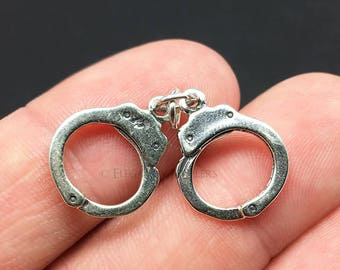 3D Sterling Silver Handcuffs Charm, Police, Correctional Officer, .925 Silver, DIY, Bracelet Charms, Nickel Free (C421)