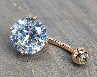 Rose Gold Plated 316L Surgical Steel CZ Belly Ring, Navel Ring, 14GA, Clear Cubic Zirconia, Stone, Body Jewelry, Summer, (E007)