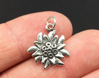 EDELWEISS Flower Blooming 3D 925 Solid Sterling Silver Charm pendentif made in USA