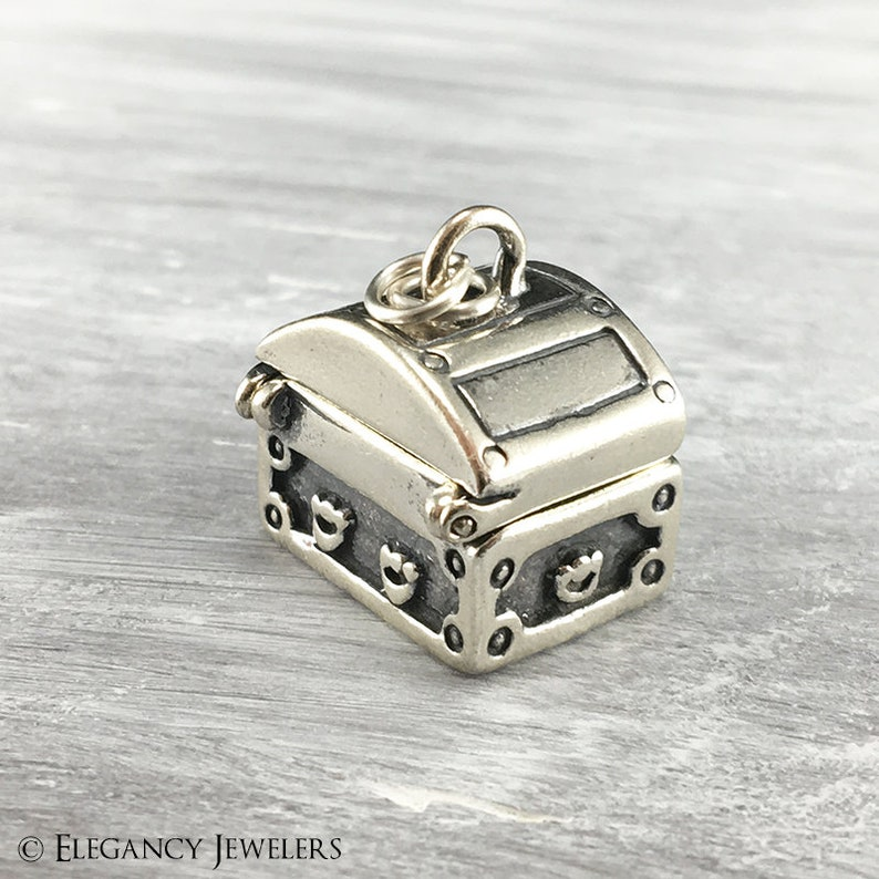 3D Sterling Silver Moveable Treasure Chest Charm Bracelet Charms .925 Silver Caribbean C613 Pirate Pendant DIY