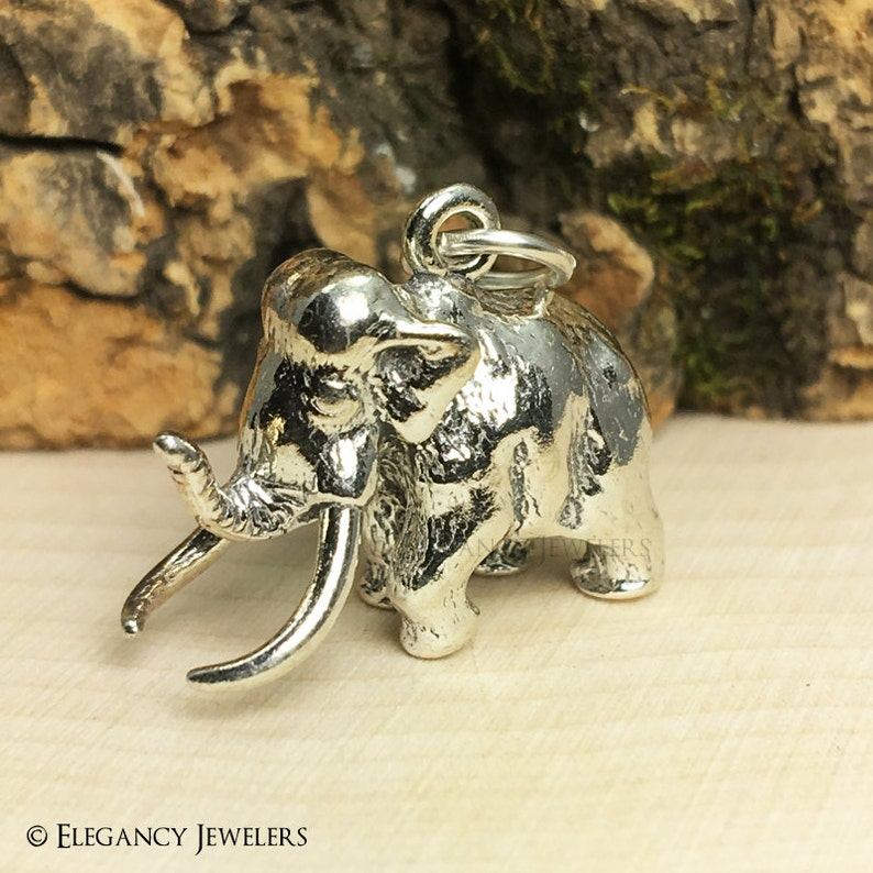 3D Sterling Silver Wooly Mammoth Bracelet Charm, Dinosaur Charm,  Paleontologist, Animal, Jewelry,  925 Silver, DIY, Charms, (C256)