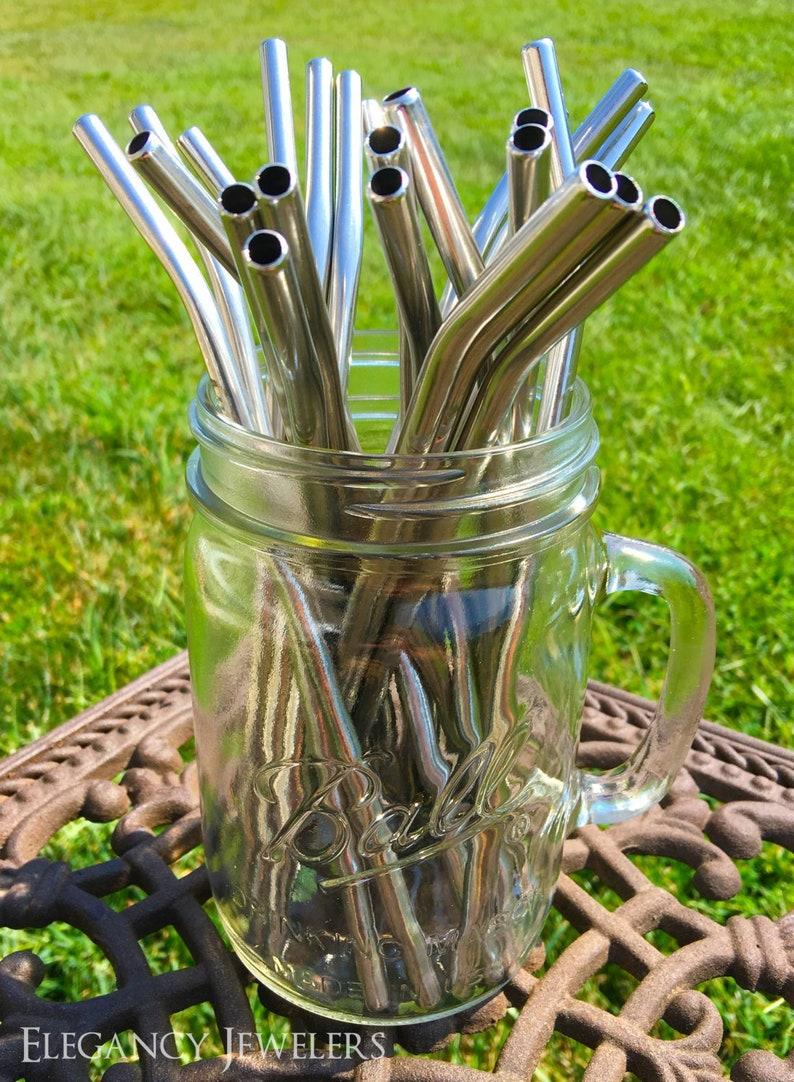 5 pack  pailles personnalisé inox acier incurvée à boire image 0