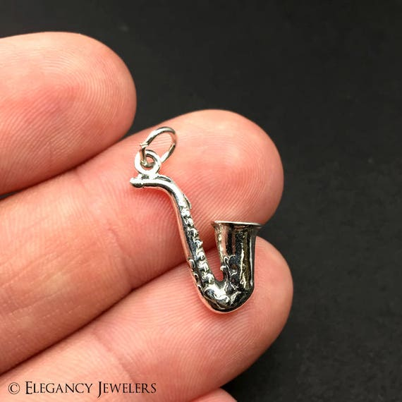 SAXOPHONE MUSIC INSTRUMENT 3D CHARM 925 STERLING SILVER