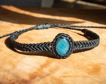Aqua Rhythm Macrame Bracelet wt Aquamarine gemstone