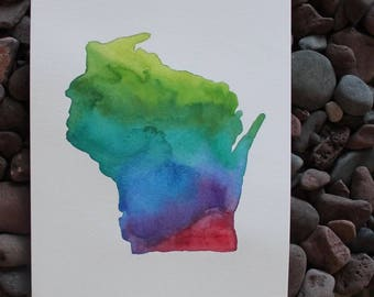 Wisconsin Original Watercolor Painting -- 9x12 -- State Art -- Wisconsin Art -- Home Decor -- Unique Christmas Gift
