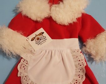Mrs Clause Dog Christmas Outfit, Girl Dog Cristmas Set, Mrs Clause Pet Costume. Christmas Puppy Mrs Clause Outfit