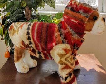 Alpaca Dog Jacket, Print Alpaca Jacket for Dogs, Tribe Print Alpaca Jacket for Puppies,  Pet Alpaca Jacket
