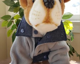 Dog Fleece Jacket, Gray Fleece Dog Jacket, Blizzard Fleece Jacket for Pets, Puppy Fleece Gray and Denim Jacket