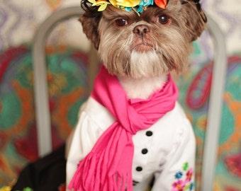 Frida Kahlo Dog Halloween Costume, Frida Kahlo Costume for your Dog, Puppy Frida Kahlo Costume, Pet Frida Kahlo Halloween Costume