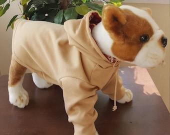 Dog Beige Hoodie, Hoddie for Dogs, Hoodie for Dogs in Beige, Pet Hoodies, Long Sleeve Pet Hoodie