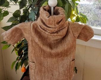 Dog Beige Alpaca Jacket,  Alpaca Jacket for Dogs in Beige, Pet Alpaca Sweater, Beige Puppy  Alpaca Jacket, Turtleneck Alpaca Jacket for dogs