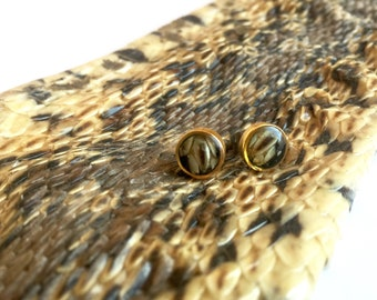 Real Snake Skin in Epoxy Resin Bronze Studs, Minimalist Post Earrings, Small Circle Stud Earrings with Real Snake Skin, Cruelty Free, NM14