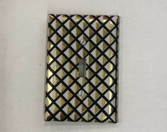 Switchplate Cover - Black and Gold Lattice