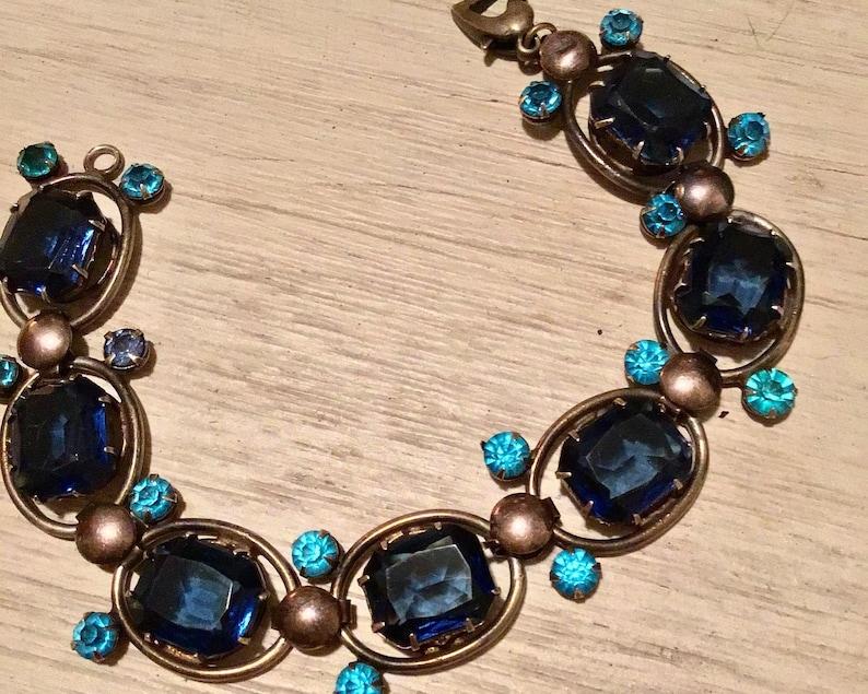 Sapphire Blue Vintage  Rhinestone Link Bracelet Marked Sterling