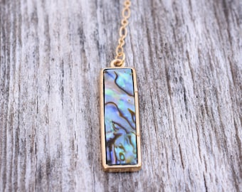 Iris | Abalone Lariat Necklace, Blue Gold Lariat Necklace, Blue Gold Y Necklace, Mother's Day Gift