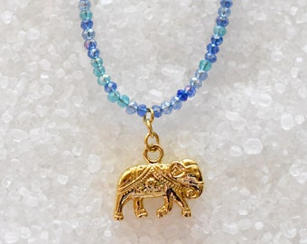 Emma   Gold Elephant Necklace, Blue Elephant Necklace