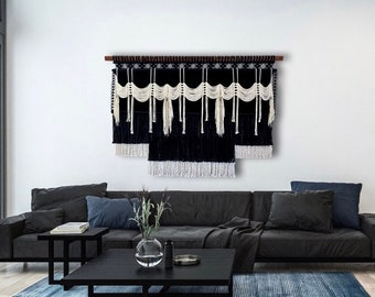 Large Black and White Macrame Wall Hanging, Large Statement Wall Art, Woven Wall Hanging, Bohemian Decor, Contemporary Fiber Art
