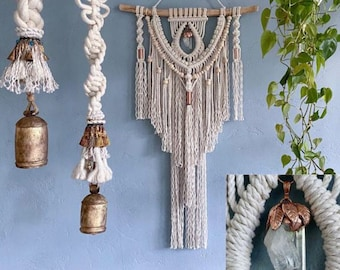 Large Macrame Wall Hanging with Cluster Crystal, Crystal Wall Hanging, Boho Decor, Macrame Wall Art, Hippie Decor