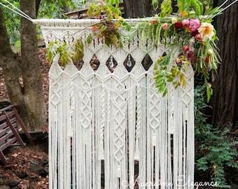Macrame Wedding Backdrop, Wedding Decor, Large Macrame Wall Hanging, Wedding Backdrop, Bohemian Wedding Decor, Wedding Arch Macrame Elegance