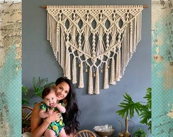 Large Macrame Wall Hanging, Wall Tapestry, Large Woven Wall Hanging, Macrame Wall Art, Macrame Wall Decor, Macrame Elegance