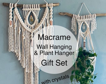 Large Macrame Wall Hanging and Plant Hanger Gift Set, Macrame Gift Set, Macrame Plant Hanger, Crystal Wall Hanging, Macrame Wall Art