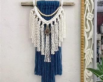 Blue Macrame Wall Hanging with bead garland on Driftwood, Colored Yarn Wall Hanging, Fiber Art, Bohemian Home Decor, Hippie Decor