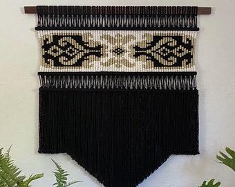 Large Black Macrame Wall Hanging, Woven Wall Hanging, Bohemian Decor, Modern Macrame, Fiber Art Wall Hanging