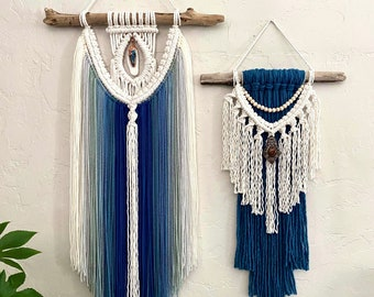 Blue Macrame Wall Hanging with Crystal, Crystal Wall Hanging, Blue Yarn Wall Hanging, Boho Decor