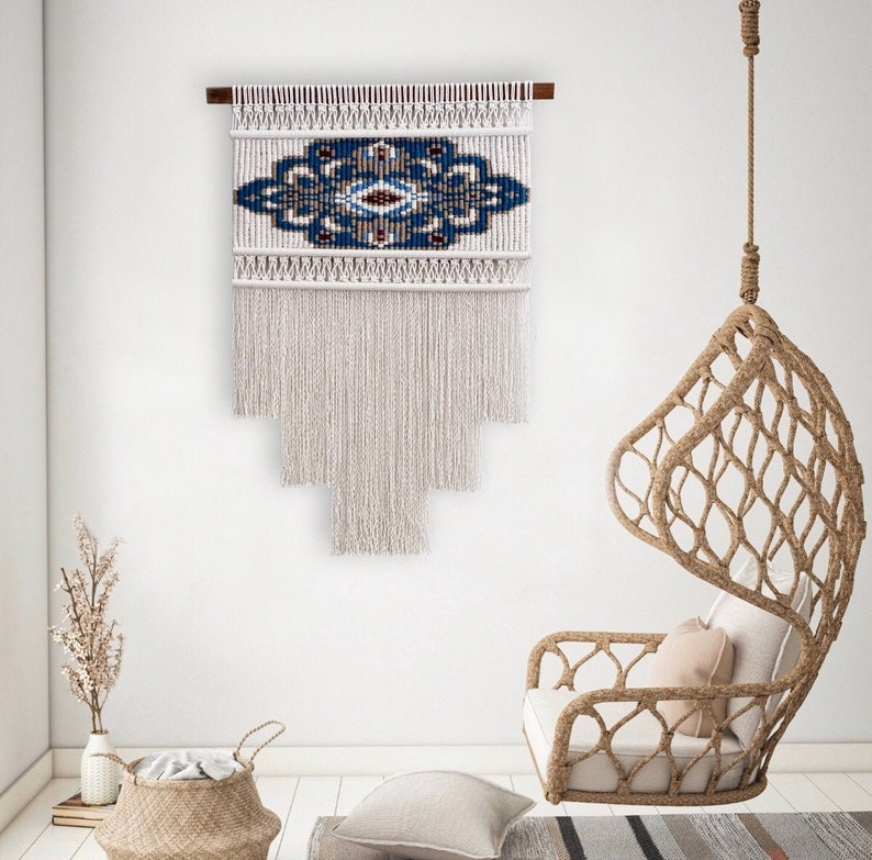 Teal Large Macrame Wall Hanging Wall Tapestry Woven Wall image 0