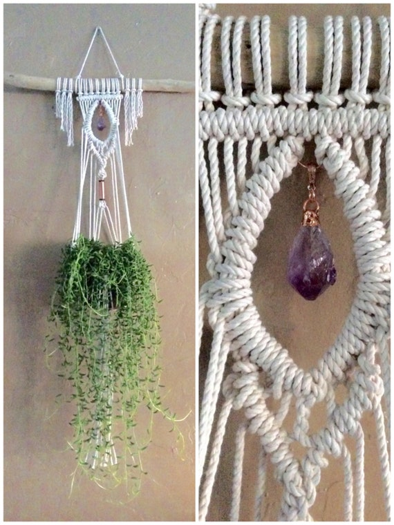 Macrame Plant Hanger On Driftwood With Hanging Crystal Etsy