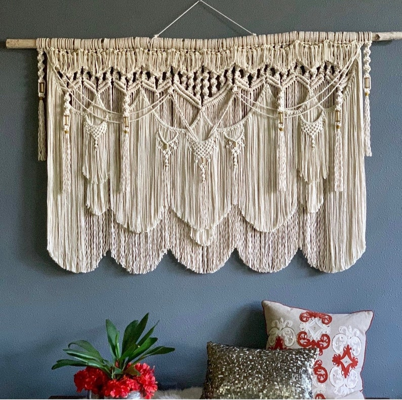 Bohemian Decor Over the Bed Wall Decor Large Macrame Wall image 0