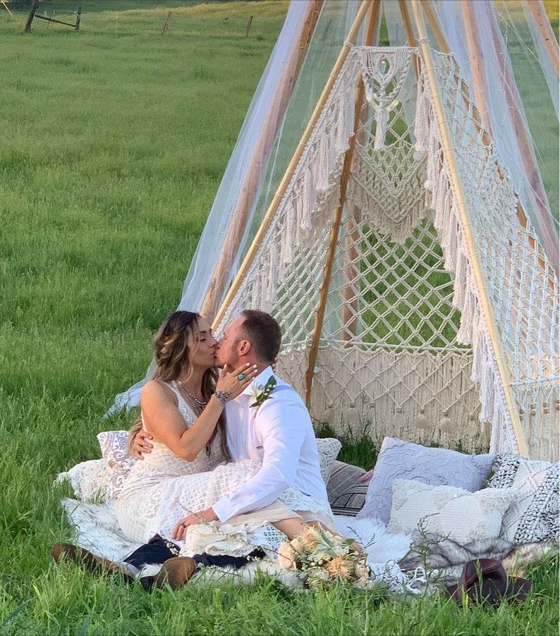 Macrame Wedding Teepee Rental Macrame Wedding Backdrop image 0