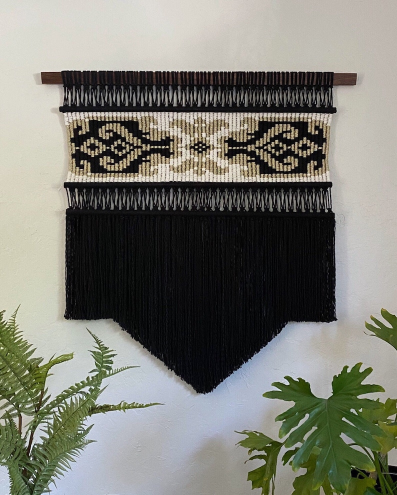 Large Black Macrame Wall Hanging Woven Wall Hanging Bohemian image 0