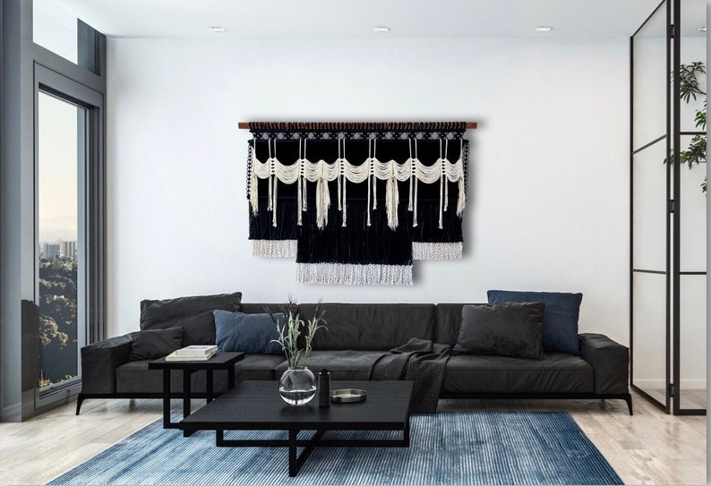 Large Black and White Macrame Wall Hanging Large Statement image 0