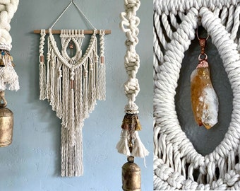 Large Macrame Wall Hanging with Crystal, Crystal Wall Hanging, Macrame Wall Art, Shabby Chic, Boho Decor